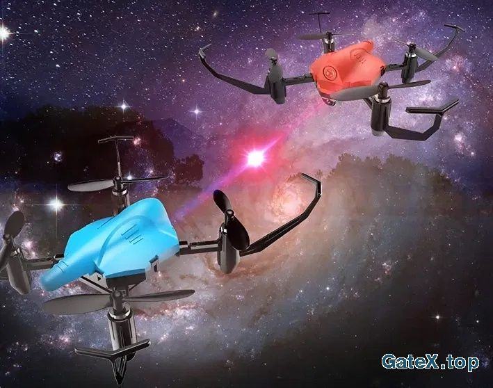 Бой дронов! ИК пушка! подсветка! для подростков 2 супер квадрокоптера